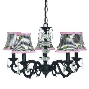 Glass Turret Black Five-Light Mini Chandelier with Black Check and Pink Rosebud Chandelier Shades