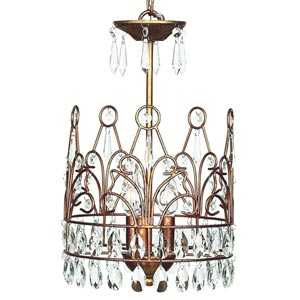 Crown Gold Three-Light Mini Chandelier