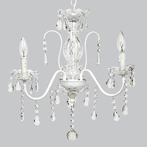 Jewel Glass White Three Light Mini Chandelier