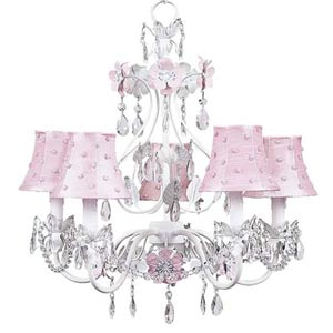 Flower Garden Pink and White Five-Light Mini Chandelier with Pink Pearl Dot Chandelier Shades