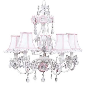 Flower Garden Pink and White Five-Light Mini Chandelier with Ruffled Edge White/Pink Chandelier Shades