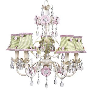 Flower Garden Ivory/Sage/Pink Five-Light Mini Chandelier with Green Check and Pink Rosebud Chandelier Shades