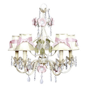 Flower Garden Ivory Sage and Pink Five-Light Chandelier with Ivory and Pink Sash Shades