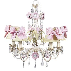 Flower Garden Ivory/Sage/Pink Five-Light Mini Chandelier with Plain Ivory with Sash Chandelier Shades