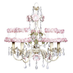 Flower Garden Ivory Sage and Pink Five-Light Chandelier with White and Pink Rose Shades