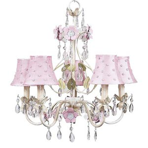 Flower Garden Ivory/Sage/Pink Five-Light Mini Chandelier with Pink Pearl Dot Chandelier Shades