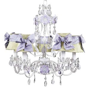 Flower Garden Lavender and White Five-Light Mini Chandelier with Plain Green Chandelier Shades