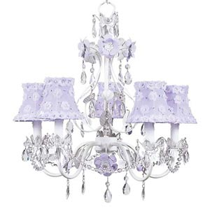 Flower Garden Lavender and White Five-Light Mini Chandelier with Petal Flower Lavender Chandelier Shades