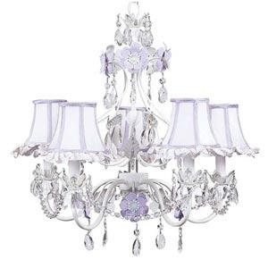 Flower Garden Lavender and White Five-Light Mini Chandelier with Ruffled Edge Lavender/White Chandelier Shades