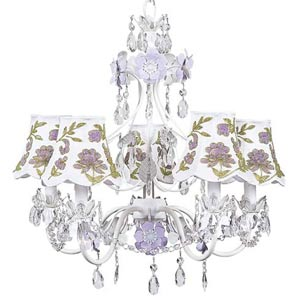 Flower Garden Lavender and White Five-Light Mini Chandelier with Lavender and Green Beaded Flower on White Chandelier Shades