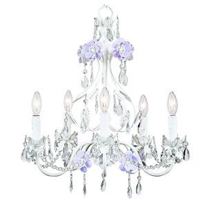 Flower Garden Lavender and White Five-Light Mini Chandelier