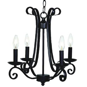 Harp Black Four-Light Mini Chandelier