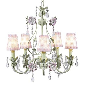 Flower Garden Pink and Green Five-Light Mini Chandelier with Petal Flower White/Pink Chandelier Shades