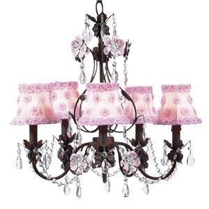 Flower Garden Mocha and Pink Five-Light Mini Chandelier with Petal Flower Pink Chandelier Shades