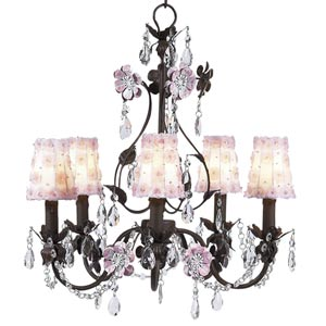 Flower Garden Mocha and Pink Five-Light Mini Chandelier with Petal Flower White/Pink Chandelier Shades