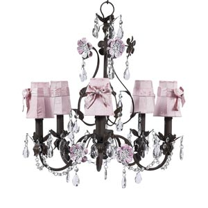 Flower Garden Mocha and Pink Five-Light Mini Chandelier with Plain Pink with Sash Chandelier Shades