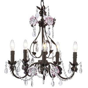 Flower Garden Mocha and Pink Five-Light Mini Chandelier