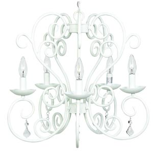 Carriage White Five-Light Chandelier