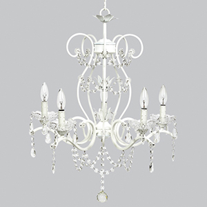 Grace White 27-Inch Five Light Chandelier
