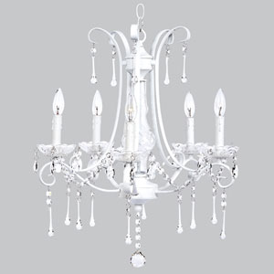 Colleen Five-Light Chandelier - White with Glass Center and Crystals