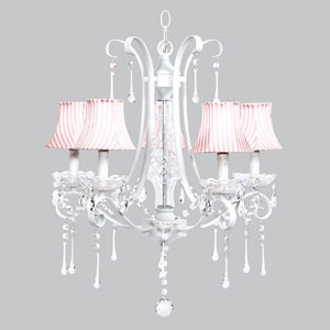 Colleen White Five-Light Chandelier with Pink and White Striped Shades