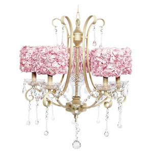 Colleen White Five-Light Chandelier with Pink Rose Garden Drum Shades