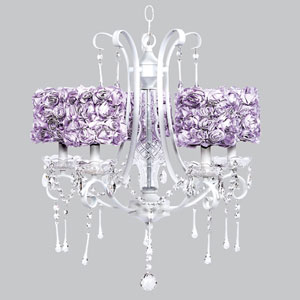 Colleen White Five-Light Chandelier with Lavender Rose Garden Drum Shades