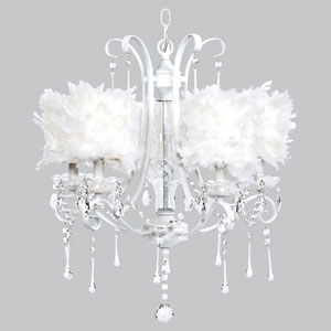 Colleen White Five-Light Chandelier with White Feather Drum Shades
