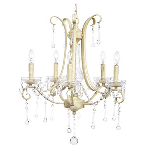 Colleen Five-Light Chandelier - Ivory with Glass Center and Crystals