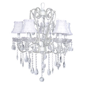 Carousel White Five-Light Chandelier with White Petal Flower Shades