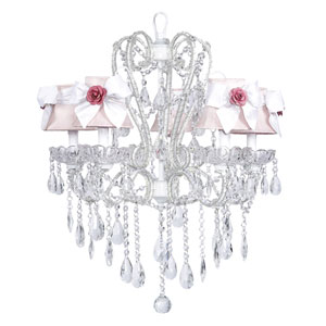 Carousel White Five-Light Chandelier with Pink Shades and White Sashes with Pink Roses