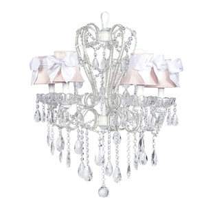 Carousel White Five-Light Chandelier with Pink Shades and White Sashes