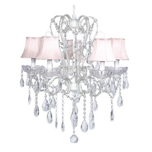 Carousel White Five-Light Chandelier with Pink Shades