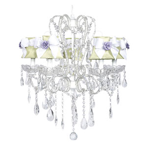 Carousel White Five-Light Chandelier with Green Shades and White Sashes with Purple Roses