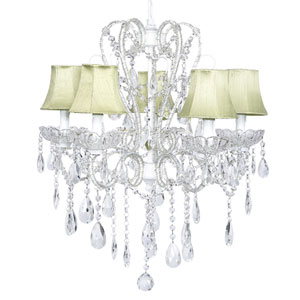 Carousel White Five-Light Chandelier with Green Shades