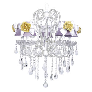 Carousel White Five-Light Chandelier with Lavender Shades and White Sashes and Yellow Roses