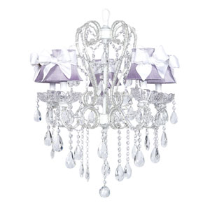 Carousel White Five-Light Chandelier with Lavender Shades and White Sashes