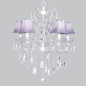 Carousel White Five-Light Chandelier with Lavender Shades
