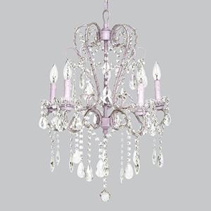 Whimsical Beaded Lavender Five Light Chandelier