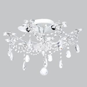 Crystal Flower White Three-Light Semi Flush Mount
