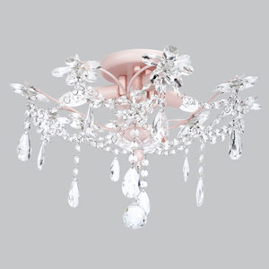 Crystal Flower Pink Three-Light Semi Flush Mount