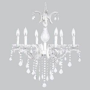 Glitz Six-Light White Chandelier Beaded with Glass Center