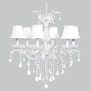 Glitz Six-Light Chandelier with White Shades