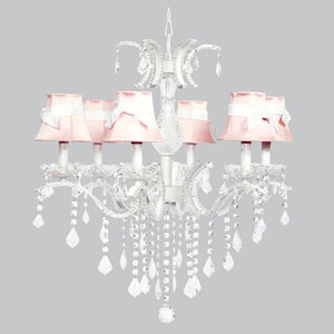 Glitz Six-Light Chandelier with Pink Shades and White Sashes