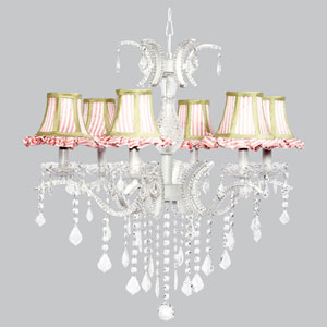 Glitz Six-Light Chandelier with Pink and White Striped Ruffled Shades and Sage Green Trim
