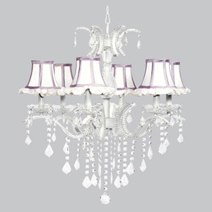 Glitz Six-Light Chandelier with White Ruffled Shades and Lavender Trim