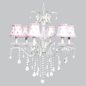 Glitz Six-Light Chandelier with White Shades and Pink Petal Flowers