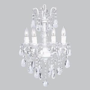 White Four-Light Glass Center Crystal Mini Chandelier