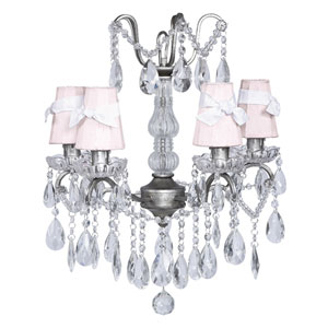 Pewter Four-Light Glass Center Crystal Mini Chandelier with Pink Shades and White Sashes