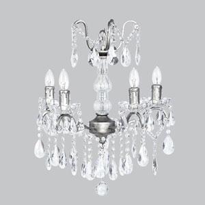Pewter Four-Light Glass Center Crystal Mini Chandelier